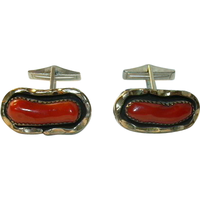 Native American Coral Cuff Links
