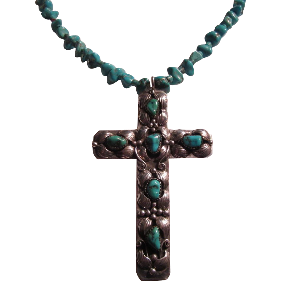 Native American Silver Turquoise Cross & Nuggets Necklace