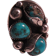 Native American Large Ring Silver Turquoise Size 8 1/2