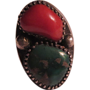 Large Native American Ring Turquoise Coral Silver 9 1/2