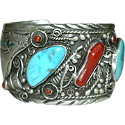 Ladies or Mens Large Native American Turquoise Silver & Coral Bracelet