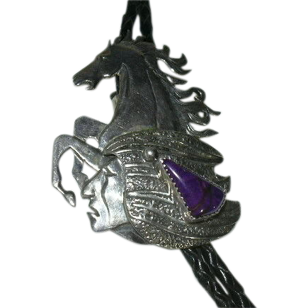 Native American Signed Custom Made Bolo Horse & Indian Chief