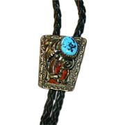 Native American Bolo Gold Wash Over Sterling With Turquoise & Coral