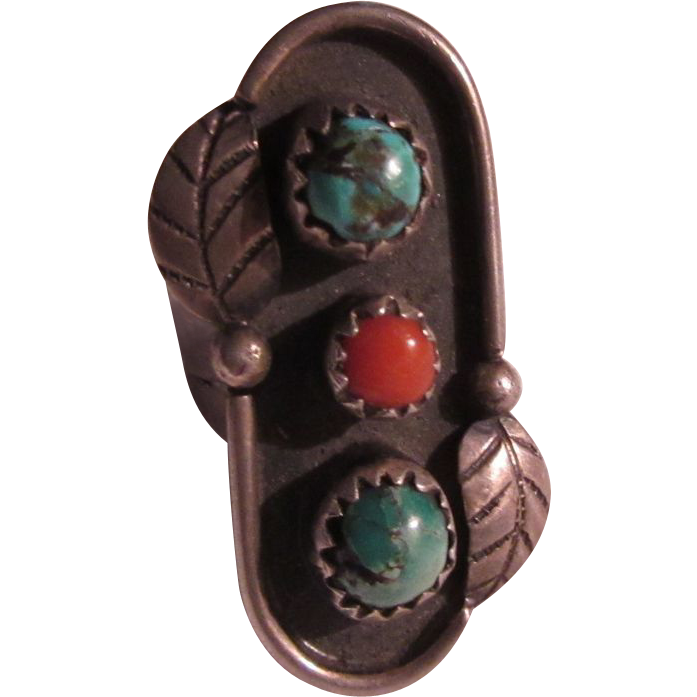 Native American Long Ring Silver Turquoise Coral Size 6