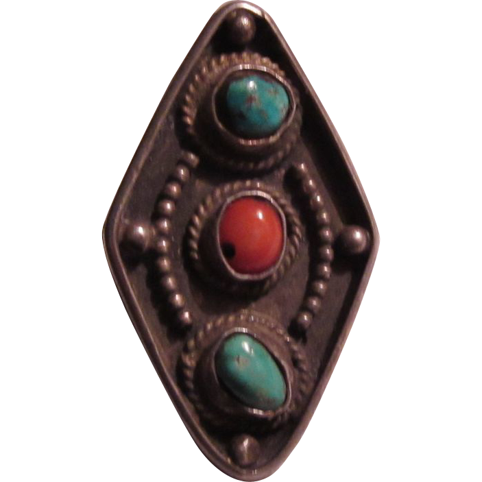 Native American Ring Silver Turquoise Coral Size 6 1/2