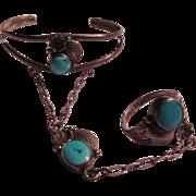 Native American Sterling Silver Turquoise Slave Bracelet
