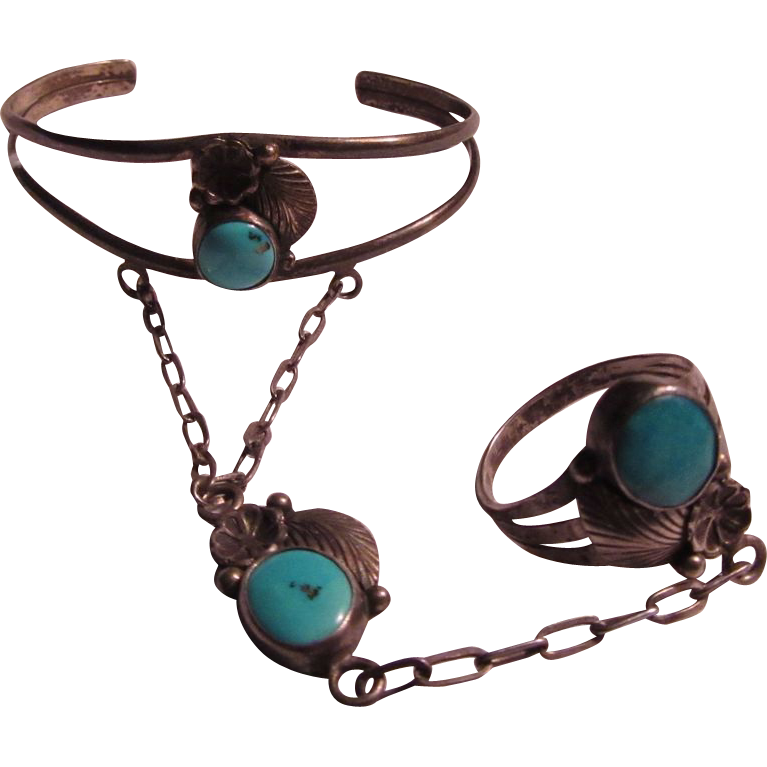 Native American Sterling Silver Turquoise Slave Bracelet