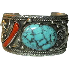 Signed Native American Large Bracelet Mens or Ladies