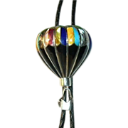 Native American Sterling & Turquoise Multi Stone Hot Air Balloon Bolo