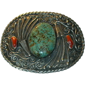 Native American Number 8 Mine Turquoise & Sterling Huge Silver Buckle