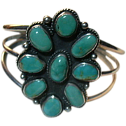 Native American Sterling Silver & Turquoise Bracelet
