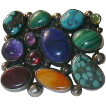 Native American Multi Stone Brooch Pendant Signed Sterling & Turquoise