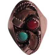 Native American Sterling Claw Ring Signed