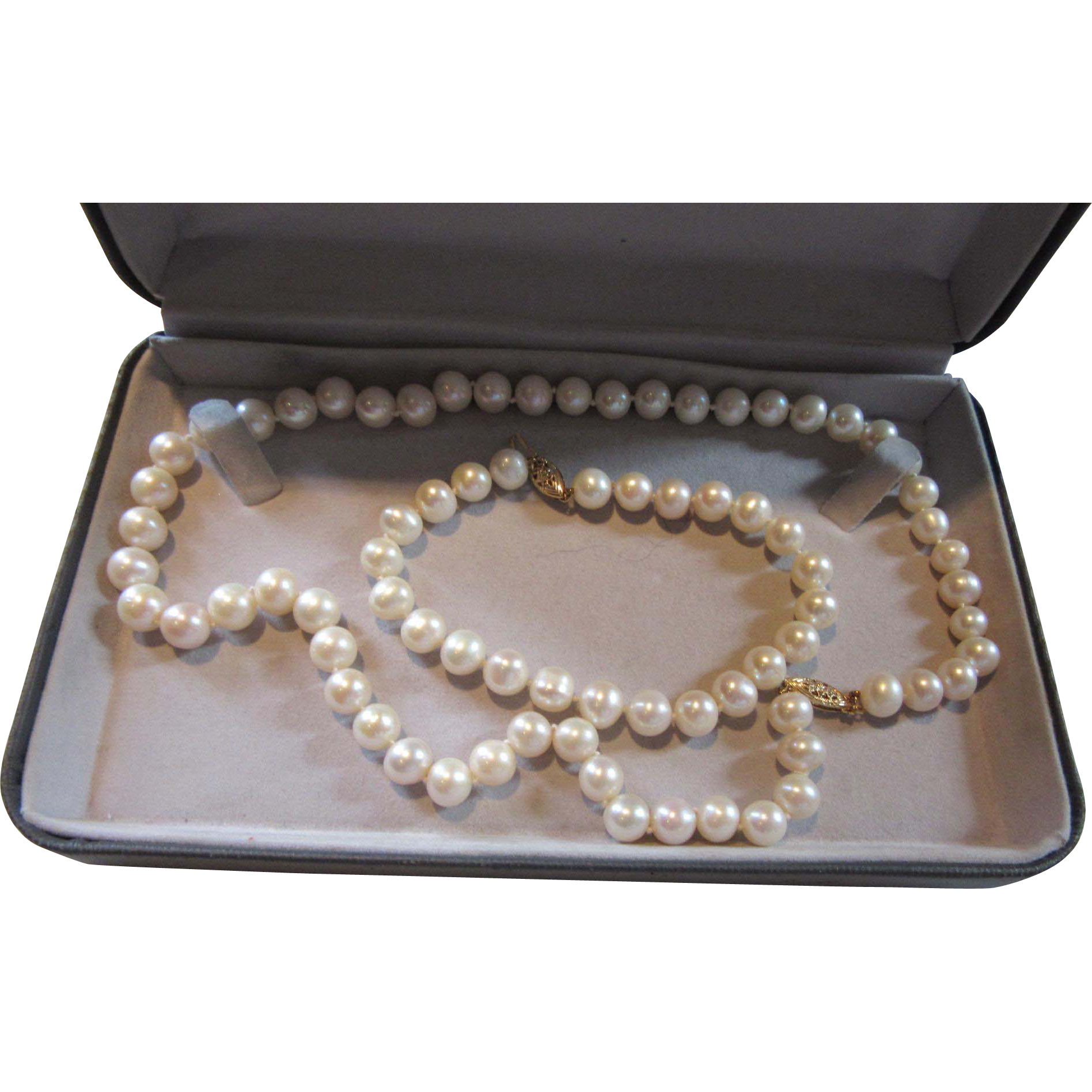 8mm Genuine Cultured Pearls Necklace Bracelet Set Fine Jewelry