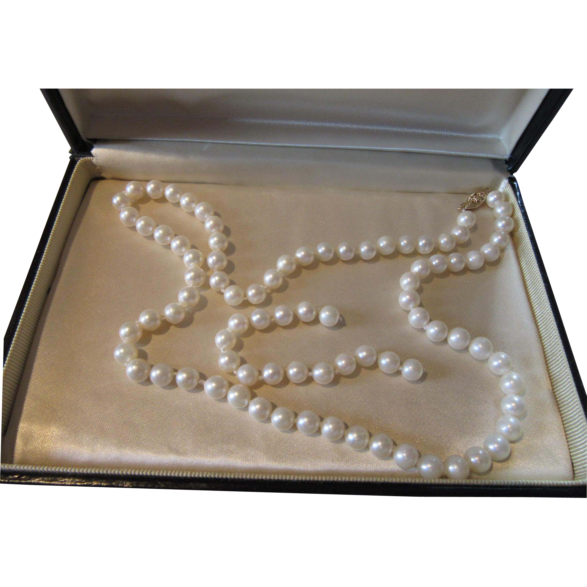 7-8 mm Genuine Cultured Pearls Necklace Imperial Box Certificate