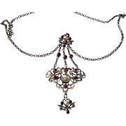 Norway 830 Silver Arts Crafts Or Earlier Pendant Necklace Mabe Pearl Rubies