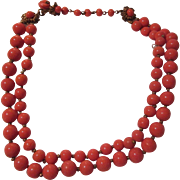 Miriam Haskell Signed Faux Coral Glass Beads 2 Strand Choker Necklace