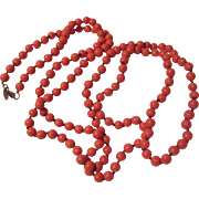 Miriam Haskell Faux Coral Glass Beads Long Necklace