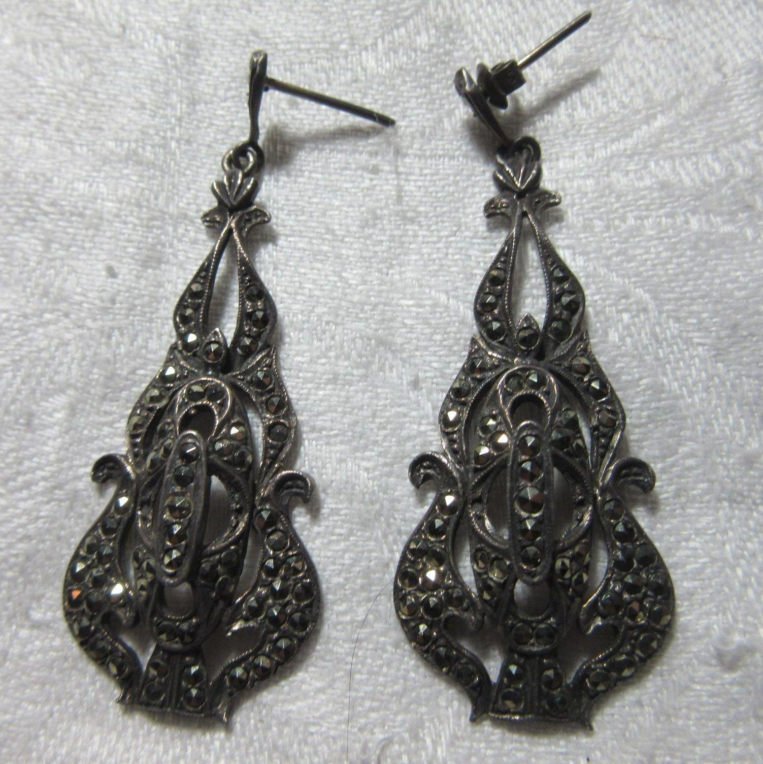 vintage sterling silver marcasite pierced earrings