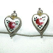 Coro Enamel Flower Hearts Earrings