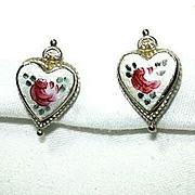 Coro Enamel Flower Hearts Earrings
