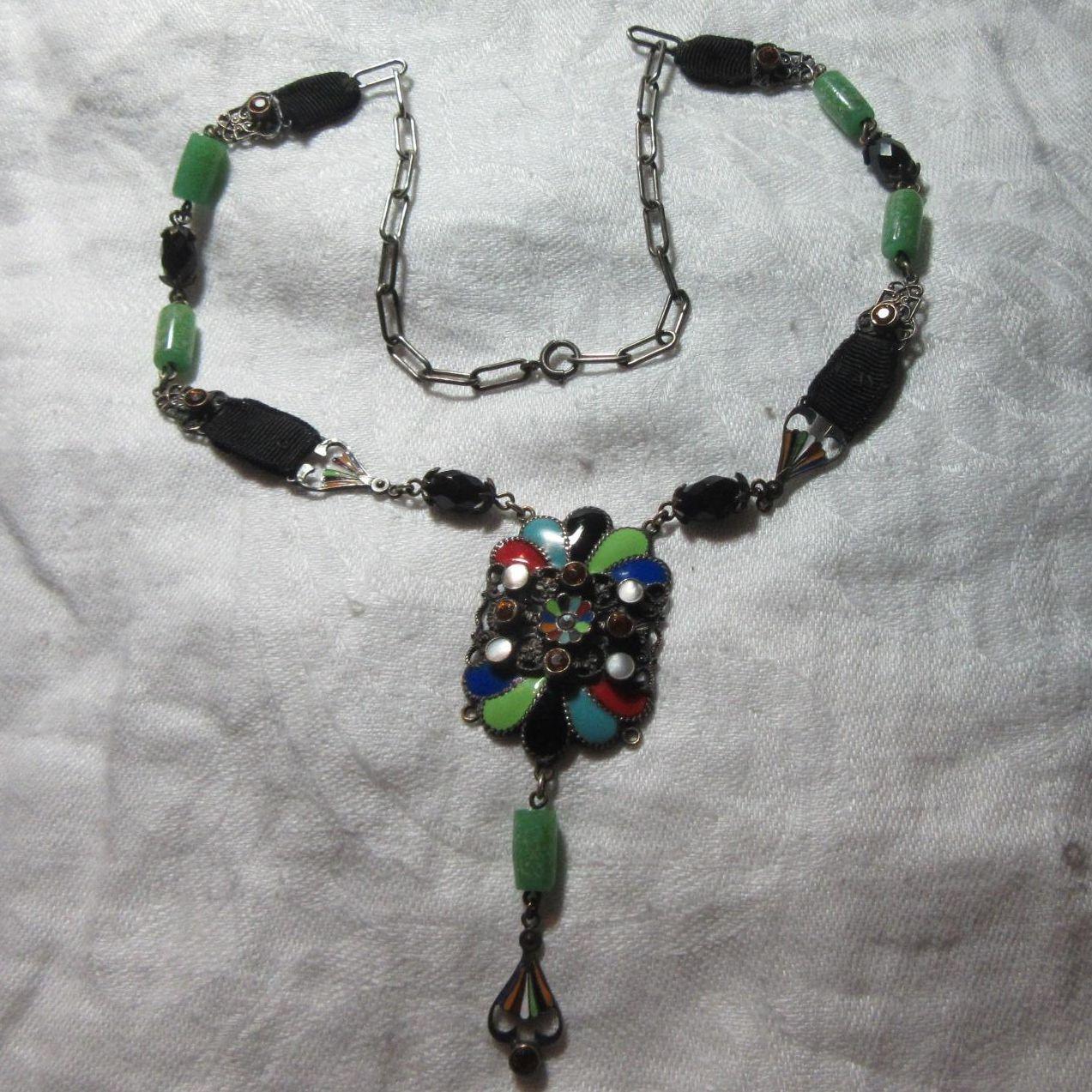 Arts & Crafts Enamel Austria Necklace Rare Artist Jewelry Austrian