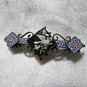 Rare Micro-Mosaic & Mosaic Bar PIn Bird Motif Fine Antique Jewelry