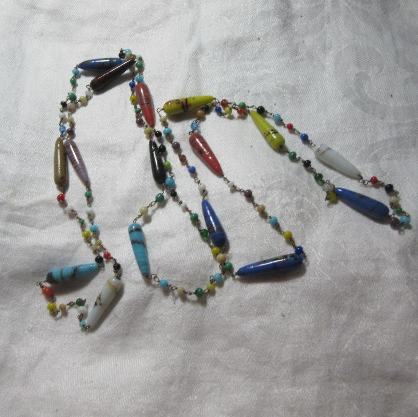 Old Venetian Or Art Glass Beads Necklace