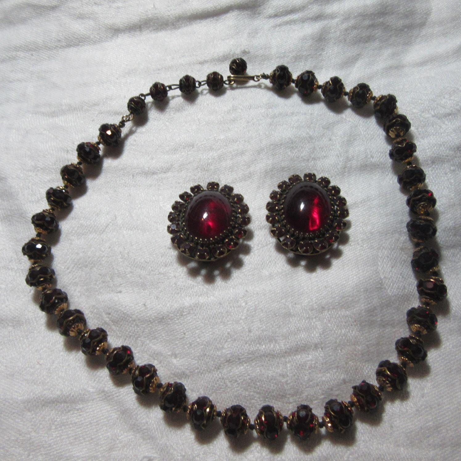 Adele Simpson Rare Red Necklace Earring Set Signed Designer Costume Jewelry