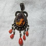 Victorian Pendant Yellow Stone Fine Vintage Jewelry
