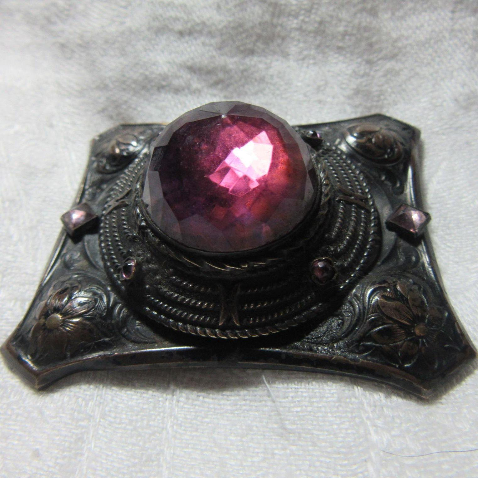 Signed Empire Rare Brooch Huge Purple Stone