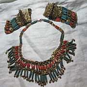 Rare Vintage Egyptian Revival Necklace and 2 Bracelets Set Jewelry