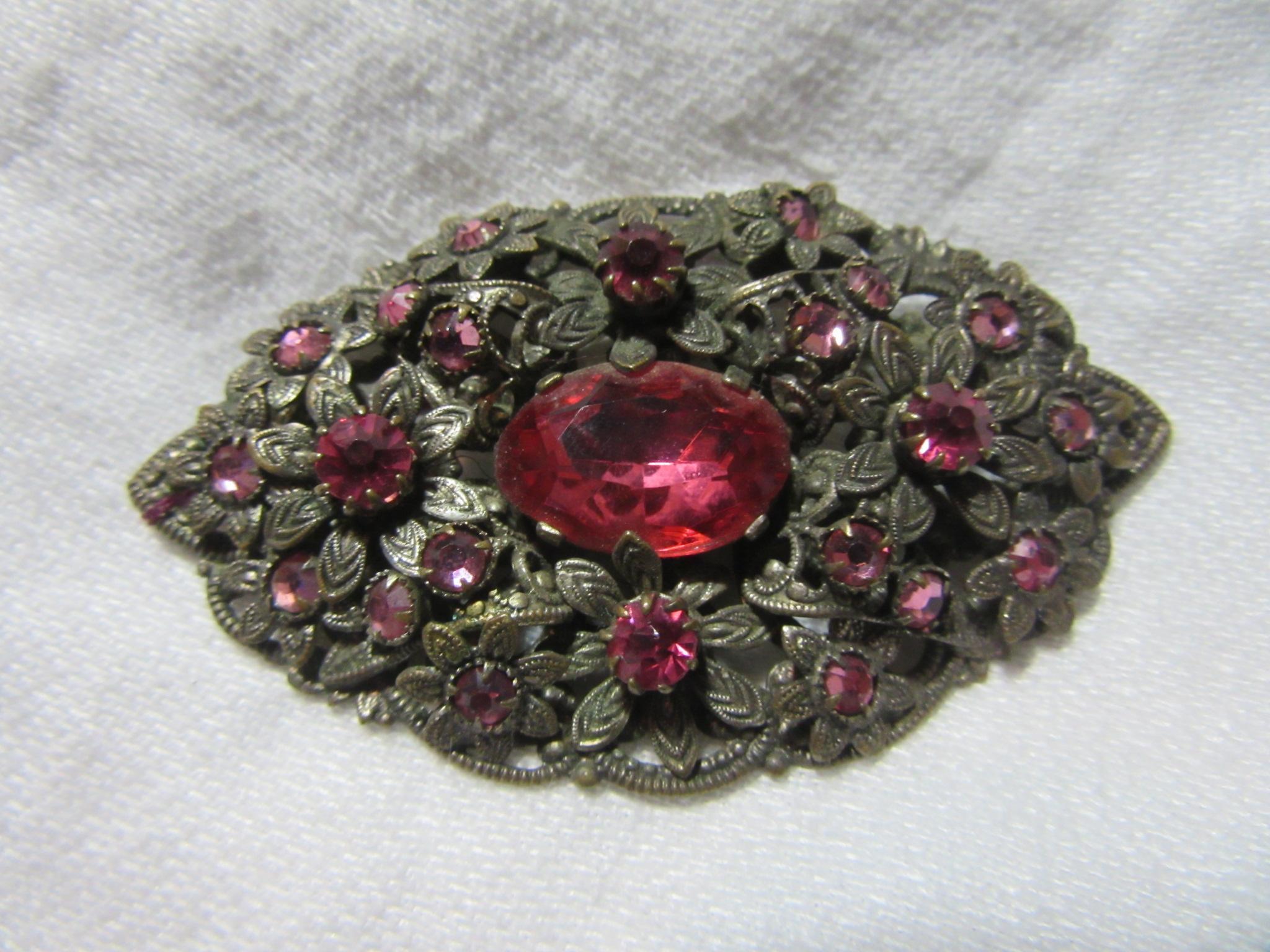 Czechoslovakian Brooch Pink Stones Vintage Jewelry Pin