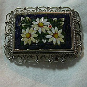 Italy Mosaic Brooch Lovely Daisies
