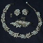 Crown Trifari TKF Parure Necklace Earrings Brooch Signed Costume Designer Jewelry