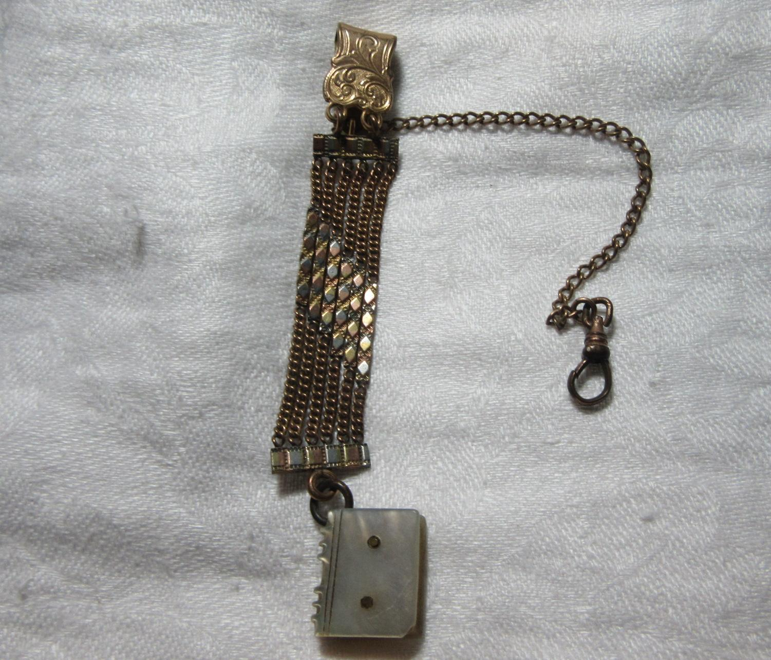 Antique Watch Chain With MOP Book Fob