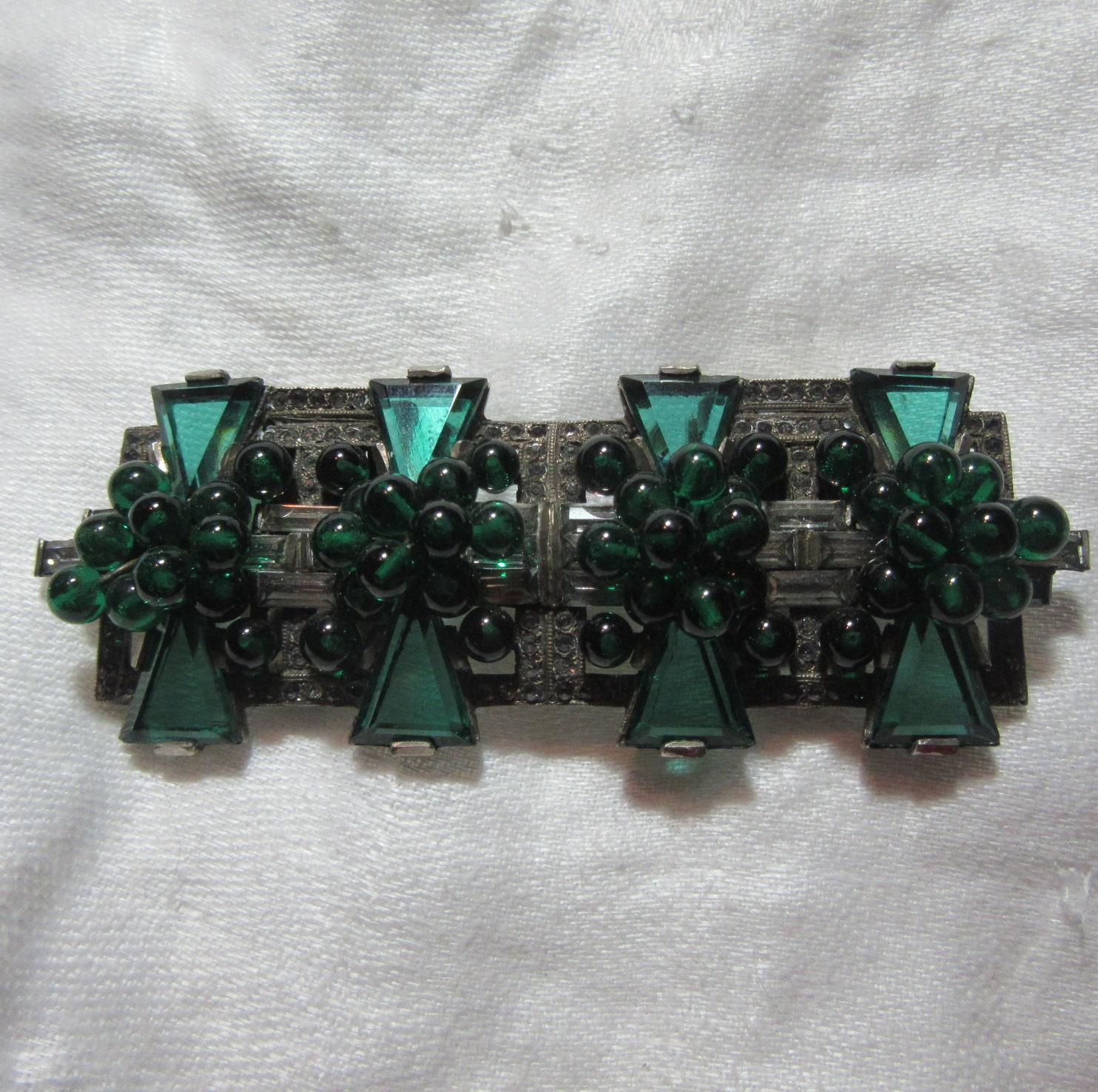 Green Glass & Rhinestone Rare Fur Bag Clip Vintage Designer Jewelry