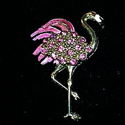 Old Pink Flamingo Brooch Pin Book Piece