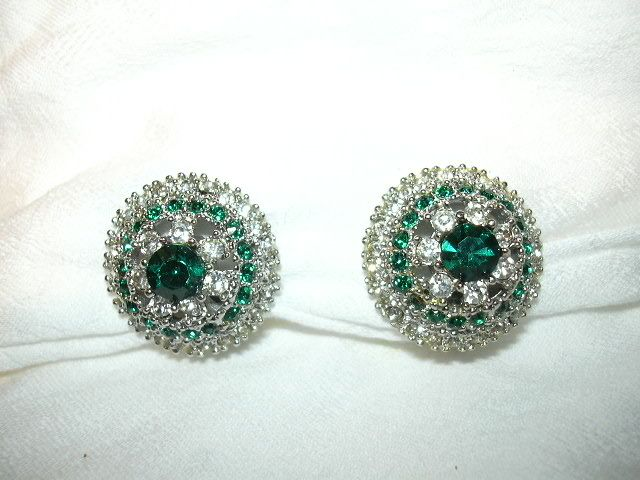 Art Rhinestone & Emerald Green Stones Clip Earrings
