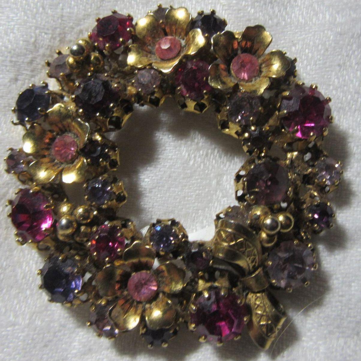 Austria Pink Violet Rhinestone Circle Pin Brooch Wreath Vintage Jewelry
