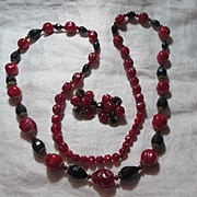 W Germany Red Black Beads Necklace & Clip Earrings Demi Parure