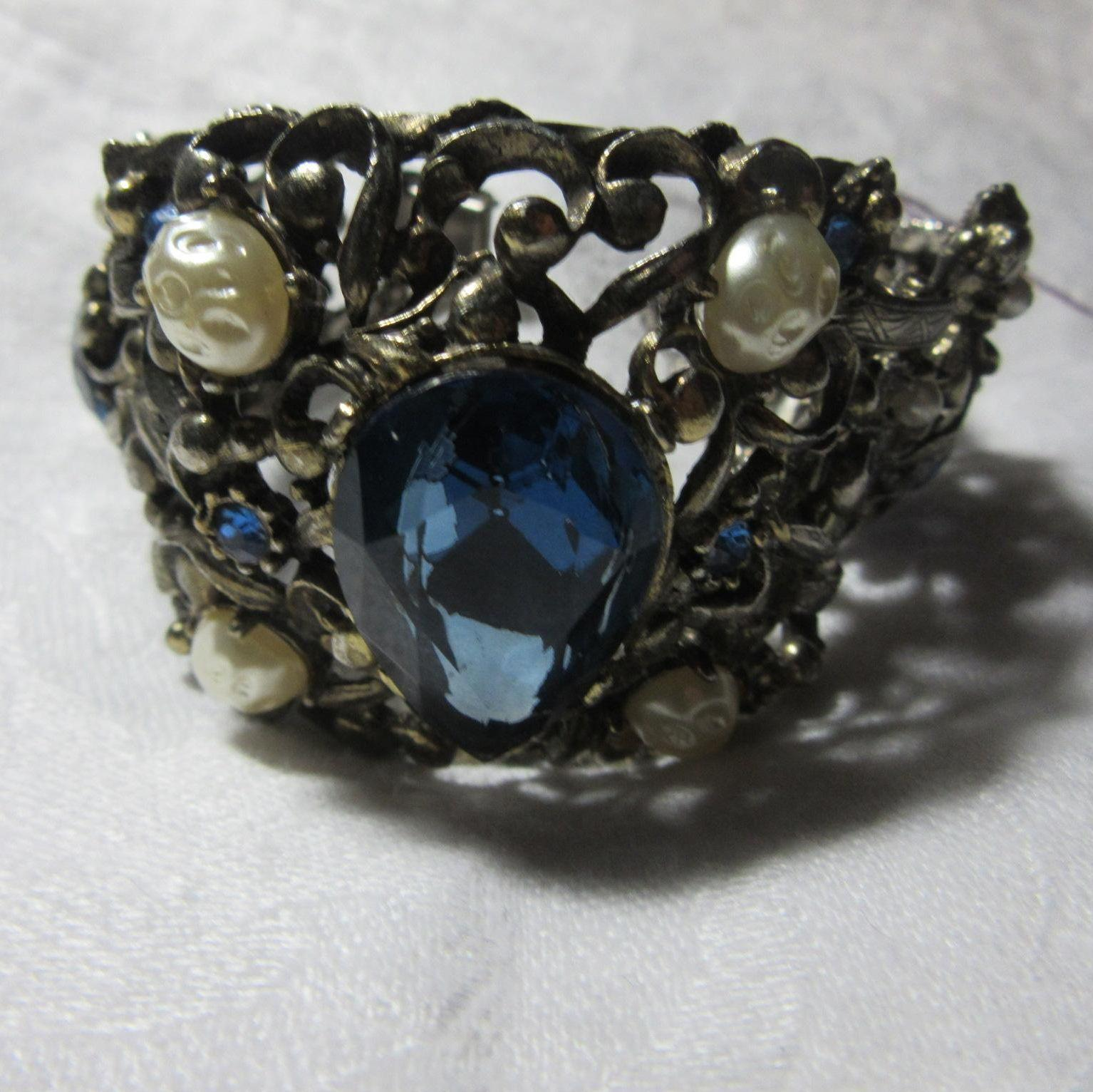 Impressive Costume Bracelet Blue Stones