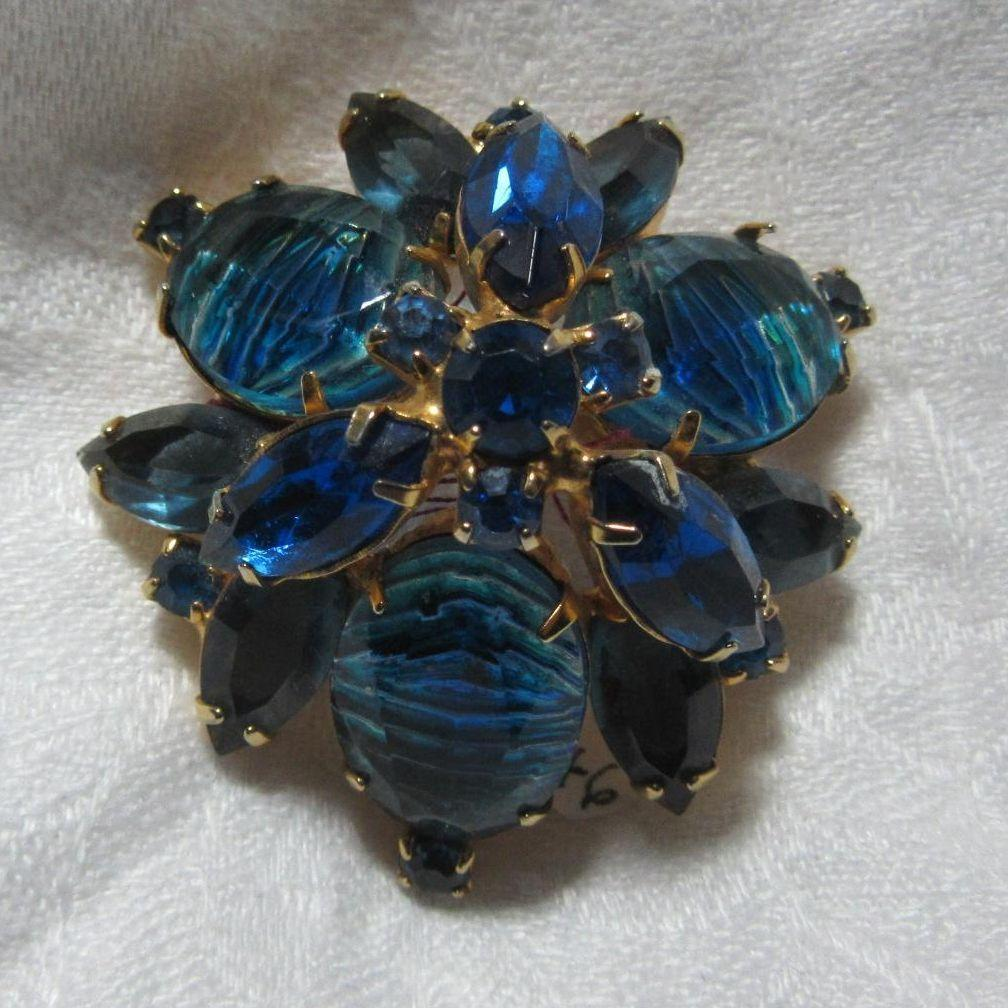 Vintage Peacock Blue Beads & Rhinestones Brooch