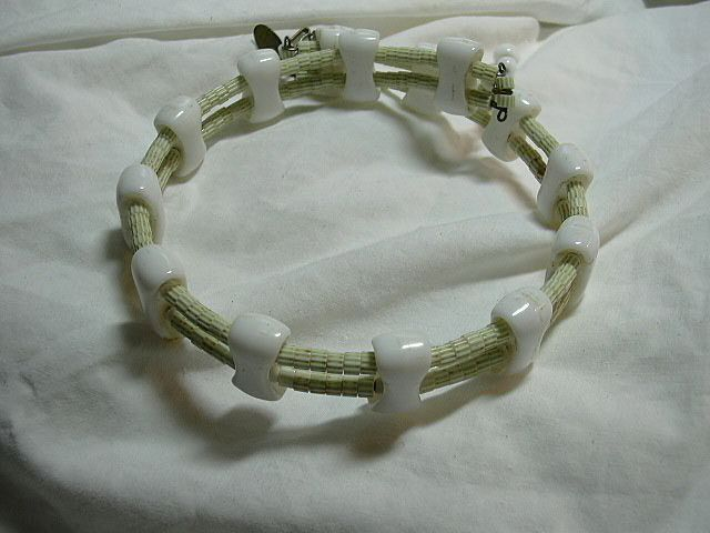 Miriam Haskell Choker Collar Necklace Milk Glass & Sea Green Beads