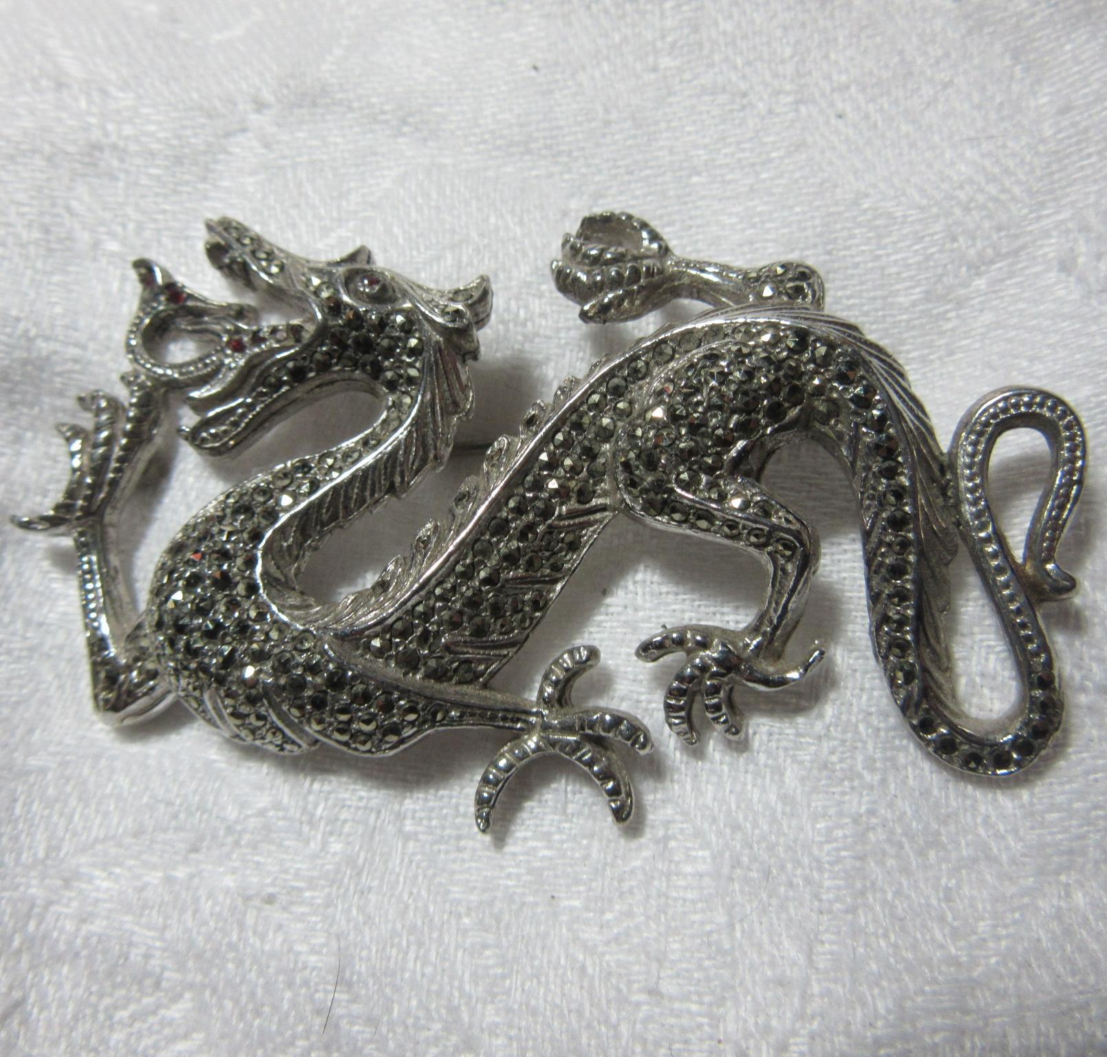 South African Dragon Brooch With Marcasites