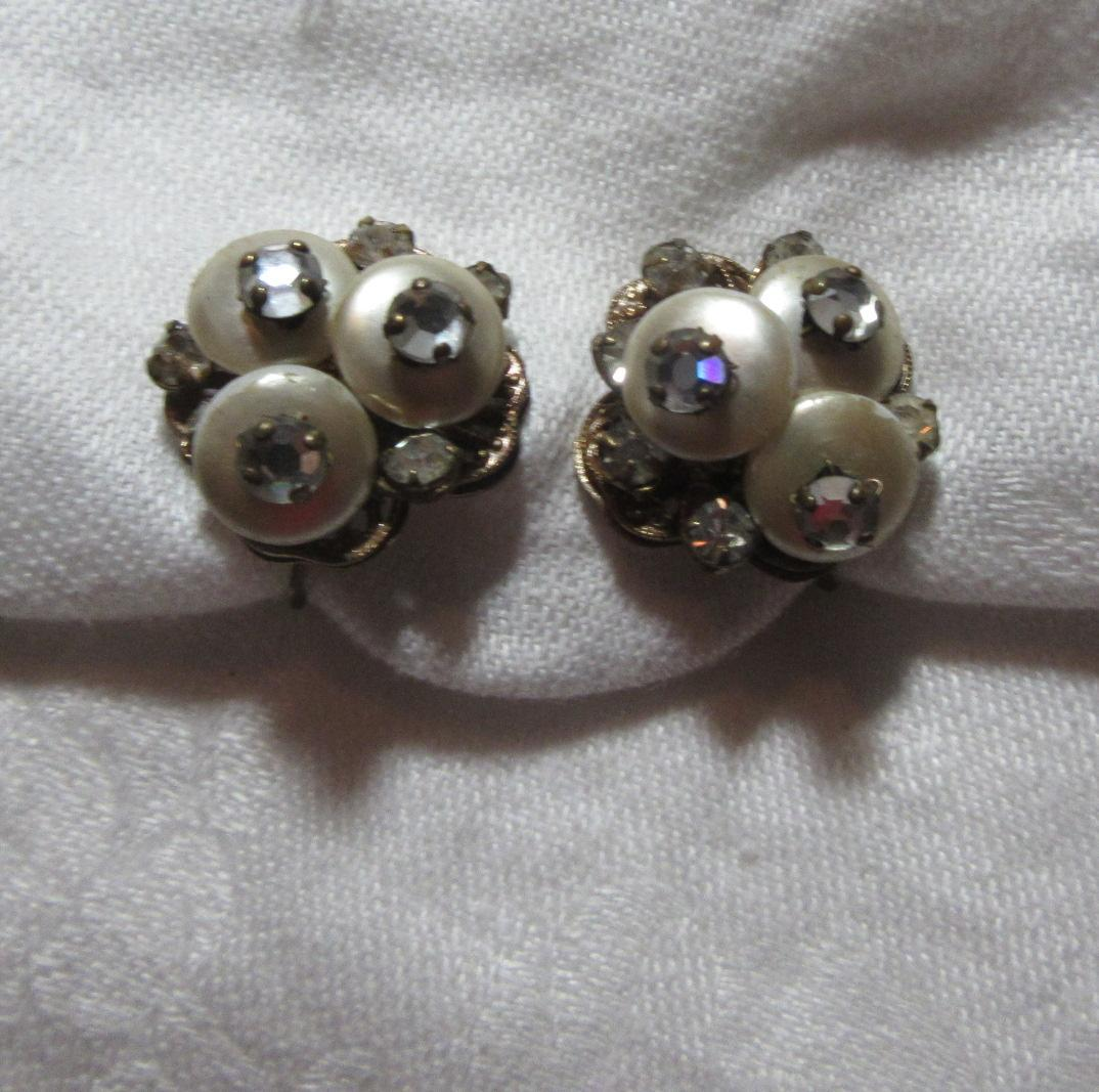 Signed Robert Old Clip  Earrings Faux Pearl & Rhinestones