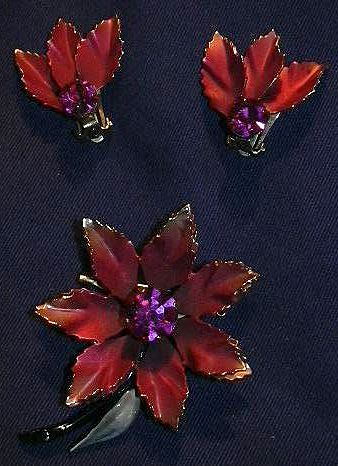 Coro Rose & Pink Flower Brooch PIn & Clip Earrings Set Fine Signed Designer Costume Jewelry
