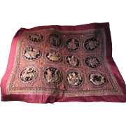 Vintage Burmese Kalaga Large Embroidered And Applique Textile Art With Stones