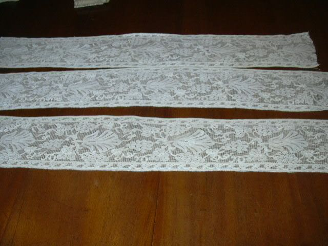Old Wide White Filet Lace Edging Pieces