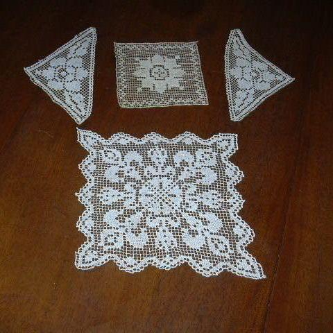 Group Old Filet Lace Pieces